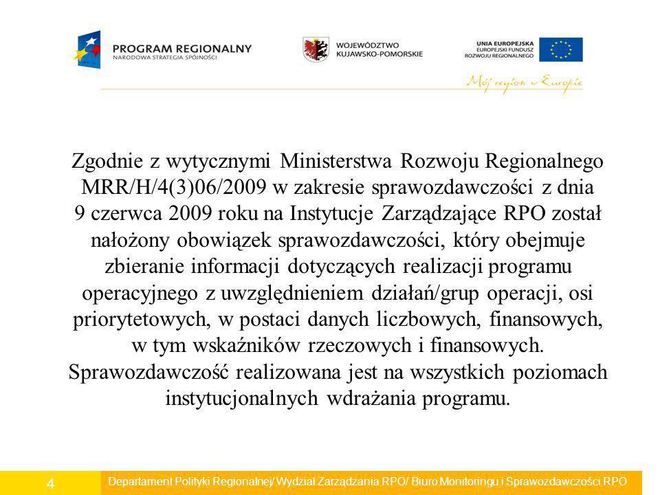 Departament Polityki Regionalnej/ Wydział Zarządzania RPO/ Biuro Monitoringu i Sprawozdawczości RPO 5 IZ RPO zobowiązana jest sporządzić i przekazać sprawozdanie okresowe do wiadomości IK RPO oraz IPOC w terminie do 60 dni kalendarzowych po upływie okresu sprawozdawczego.