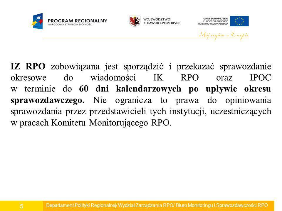 Departament Polityki Regionalnej/ Wydział Zarządzania RPO/ Biuro Monitoringu i Sprawozdawczości RPO 6 Sprawozdanie okresowe z realizacji RPO WK-P za I półrocze 2009 roku przekazane zostało do IK RPO oraz IPOC pismem o sygnaturze PRO.II.0232-31/09 z dnia 26 sierpnia 2009r.