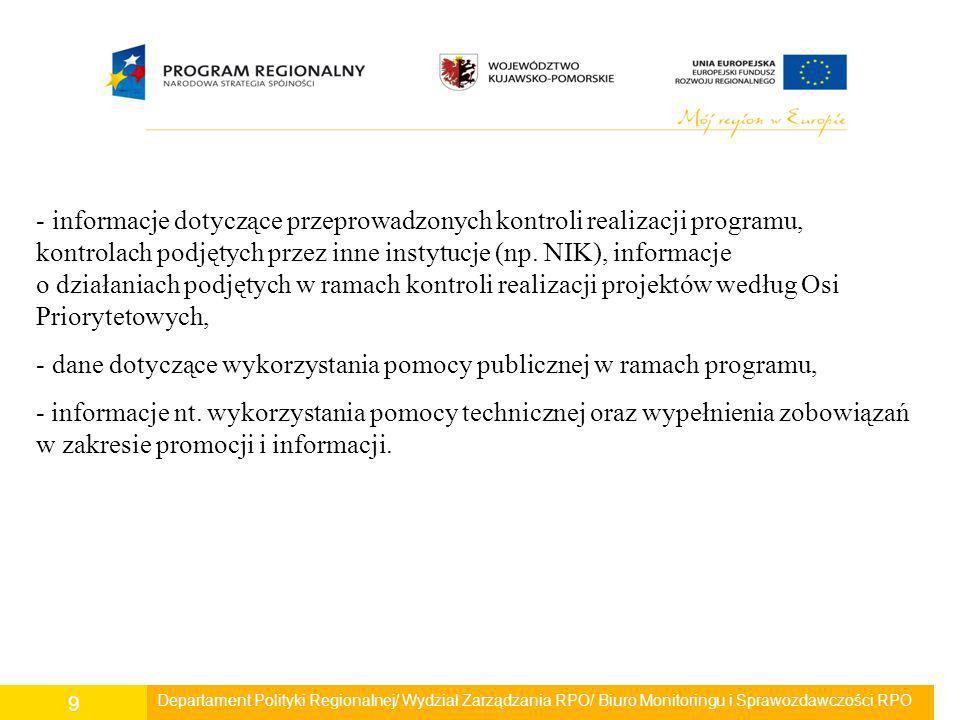 Informacja i promocja Przeprowadzone były liczne działania mające na celu: - promocję Unii Europejskiej i RPO WK-P, a także podniesienie poziomu wiedzy oraz świadomości ogółu społeczeństwa w regionie na temat możliwości korzystania z Funduszy Europejskich w ramach RPO WK-P, - ukazanie roli UE w rozwoju społecznym i gospodarczym regionu i kraju, - upowszechnianie w świadomości społecznej korzyści płynących z członkostwa w Unii Europejskiej i z wykorzystania środków unijnych, - upowszechnianie informacji o projektach realizowanych w ramach RPO WK-P.