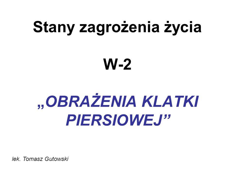 Stany zagrożenia życia W-2OBRAŻENIA KLATKI PIERSIOWEJ lek. Tomasz Gutowski