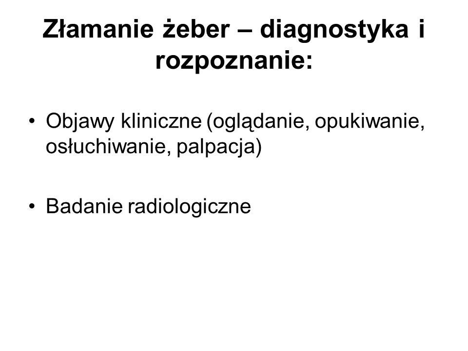 Złamanie żeber – diagnostyka i rozpoznanie: Objawy kliniczne (oglądanie, opukiwanie, osłuchiwanie, palpacja) Badanie radiologiczne