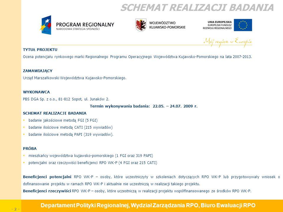 Departament Polityki Regionalnej, Wydział Zarządzania RPO, Biuro Ewaluacji RPO - 23 - Rekomendacje priorytetowe G.