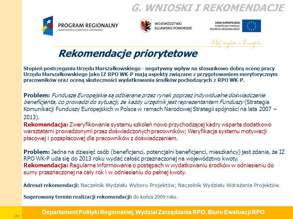 Departament Polityki Regionalnej, Wydział Zarządzania RPO, Biuro Ewaluacji RPO - 21 - Rekomendacje priorytetowe G.
