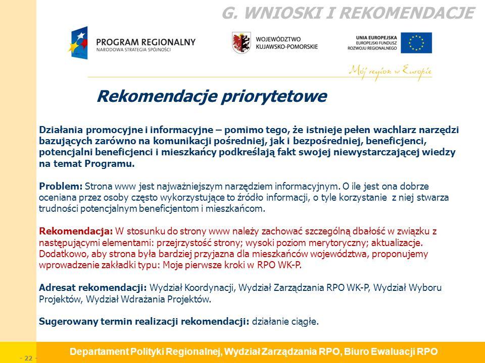 Departament Polityki Regionalnej, Wydział Zarządzania RPO, Biuro Ewaluacji RPO - 22 - Rekomendacje priorytetowe G.