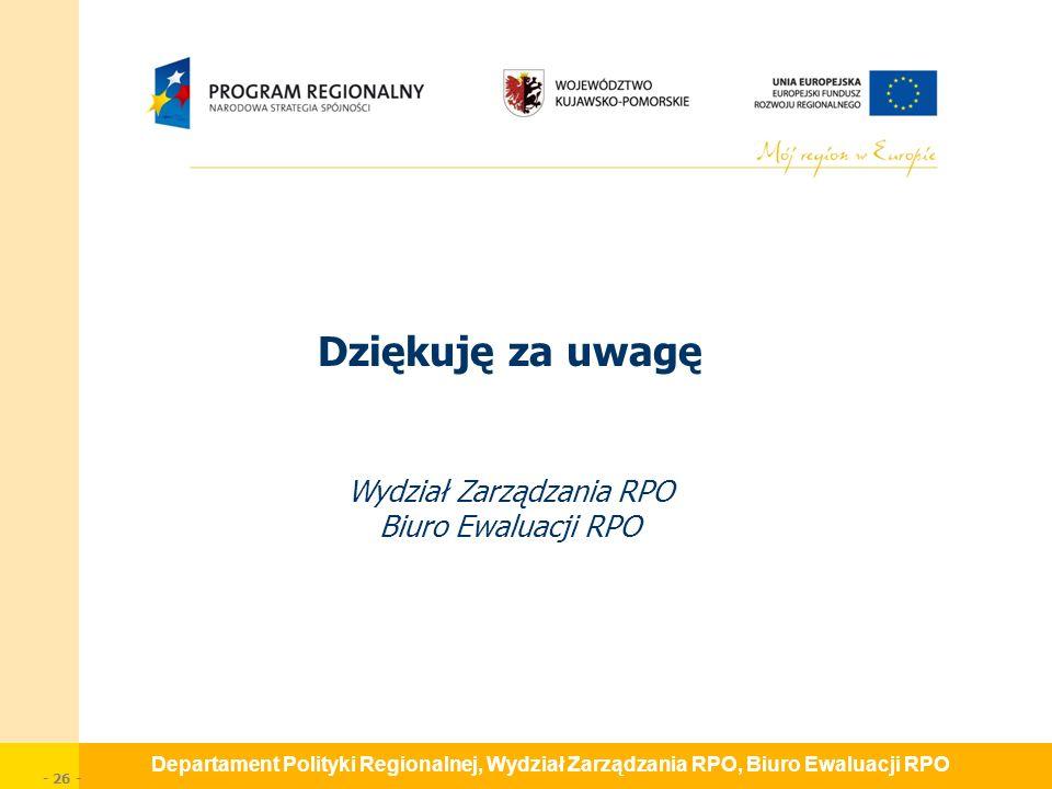 Departament Polityki Regionalnej, Wydział Zarządzania RPO, Biuro Ewaluacji RPO - 26 - Dziękuję za uwagę Wydział Zarządzania RPO Biuro Ewaluacji RPO