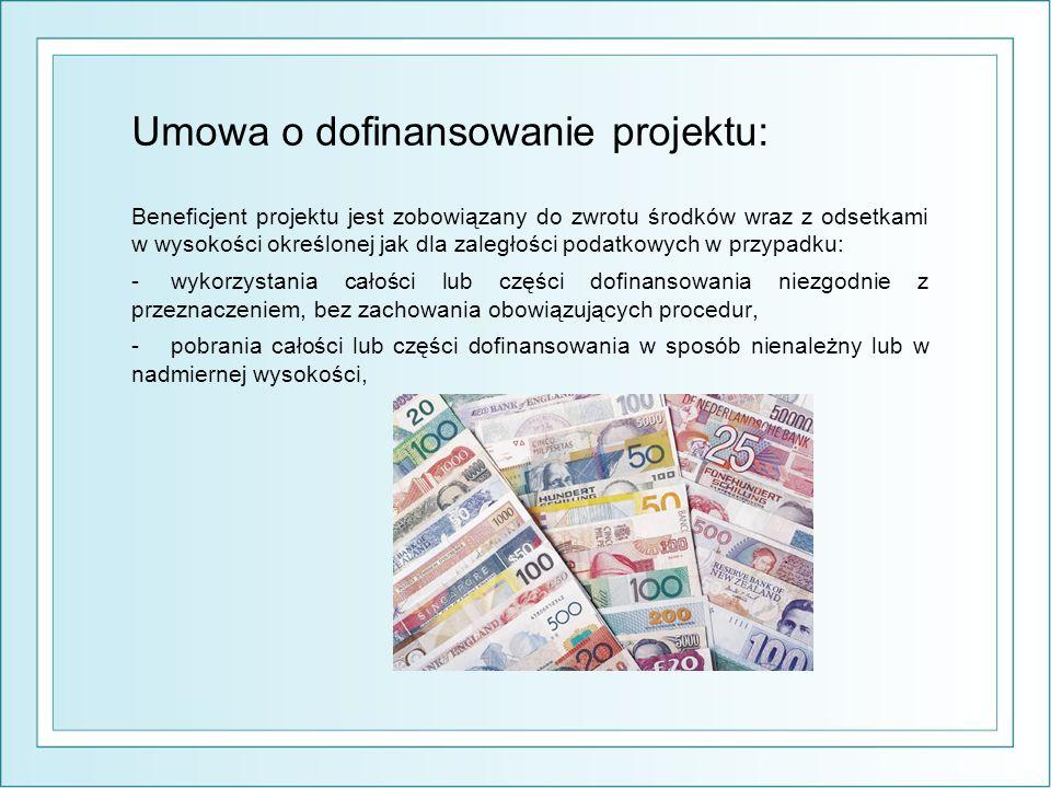 Umowa o dofinansowanie projektu: Beneficjent projektu jest zobowiązany do zwrotu środków wraz z odsetkami w wysokości określonej jak dla zaległości podatkowych w przypadku: -wykorzystania całości lub części dofinansowania niezgodnie z przeznaczeniem, bez zachowania obowiązujących procedur, -pobrania całości lub części dofinansowania w sposób nienależny lub w nadmiernej wysokości,