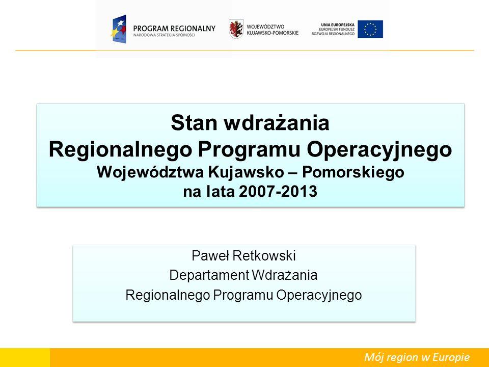 Mój region w Europie Stan wdrażania Regionalnego Programu Operacyjnego Województwa Kujawsko – Pomorskiego na lata 2007-2013 Paweł Retkowski Departamen