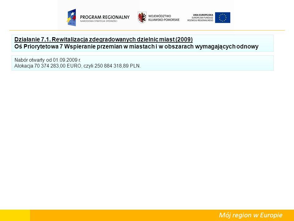 Mój region w Europie Działanie 7.1. Rewitalizacja zdegradowanych dzielnic miast (2009) Oś Priorytetowa 7 Wspieranie przemian w miastach i w obszarach