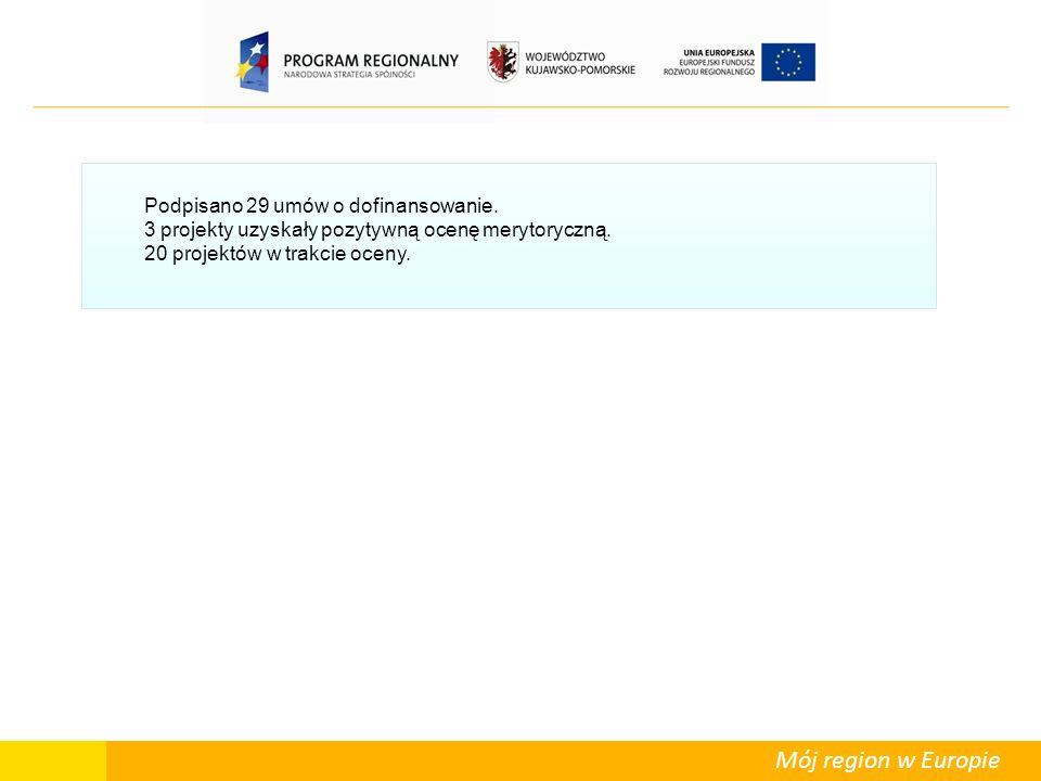 Mój region w Europie Podpisano 29 umów o dofinansowanie. 3 projekty uzyskały pozytywną ocenę merytoryczną. 20 projektów w trakcie oceny.