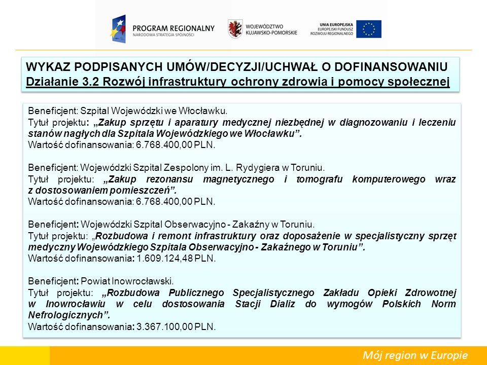 Mój region w Europie Beneficjent: Szpital Wojewódzki we Włocławku. Tytuł projektu: Zakup sprzętu i aparatury medycznej niezbędnej w diagnozowaniu i le