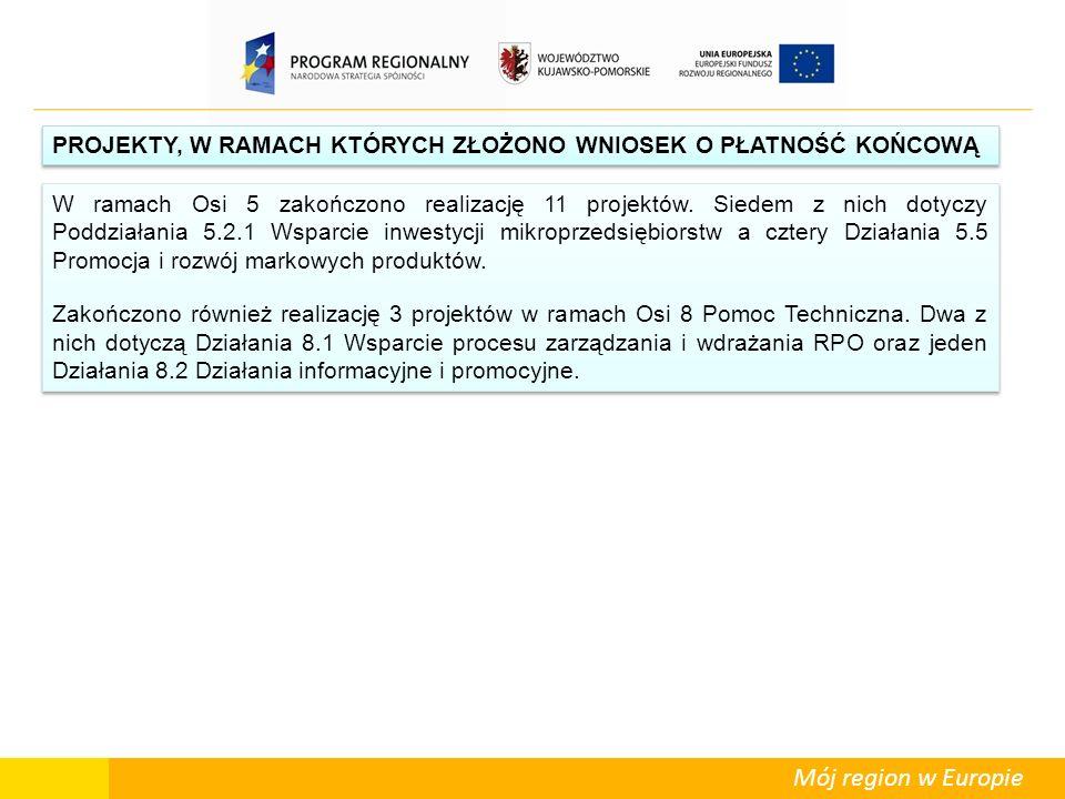 Mój region w Europie PROJEKTY, W RAMACH KTÓRYCH ZŁOŻONO WNIOSEK O PŁATNOŚĆ KOŃCOWĄ W ramach Osi 5 zakończono realizację 11 projektów. Siedem z nich do