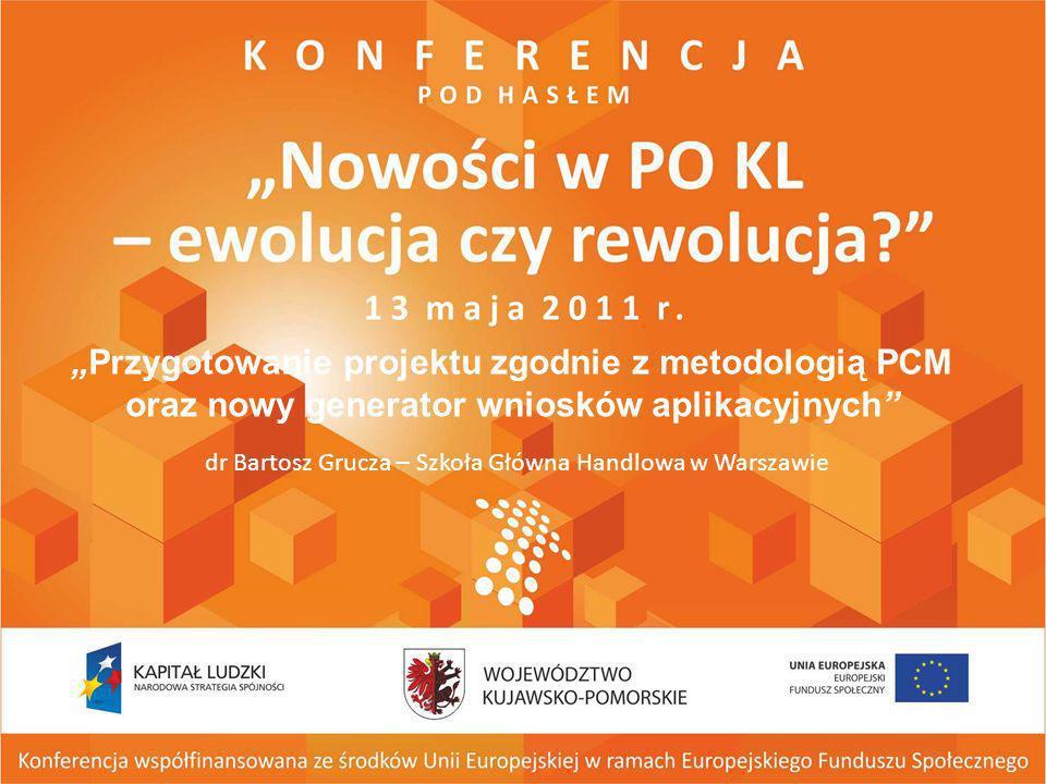 Przygotowanie projektu zgodnie z metodologią PCM oraz nowy generator wniosków aplikacyjnych dr Bartosz Grucza – Szkoła Główna Handlowa w Warszawie