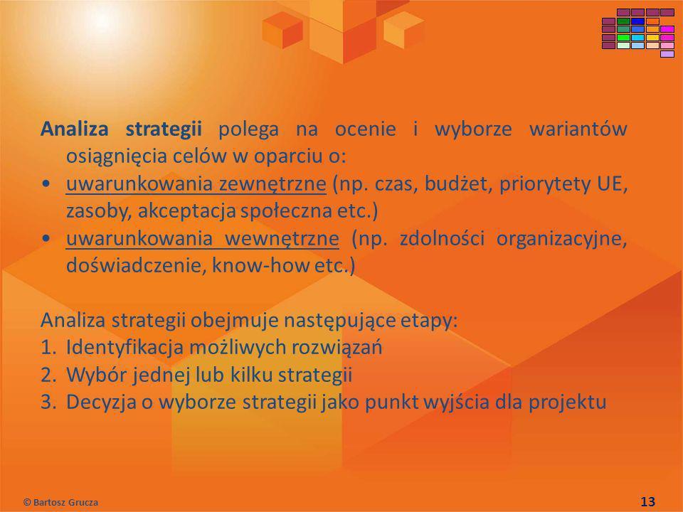 Analiza strategii polega na ocenie i wyborze wariantów osiągnięcia celów w oparciu o: uwarunkowania zewnętrzne (np. czas, budżet, priorytety UE, zasob