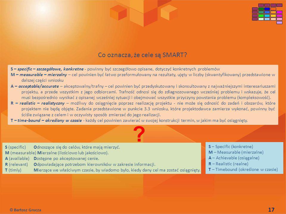 S – specific – szczegółowe, konkretne - powinny być szczegółowo opisane, dotyczyć konkretnych problemów M – measurable – mierzalny – cel powinien być