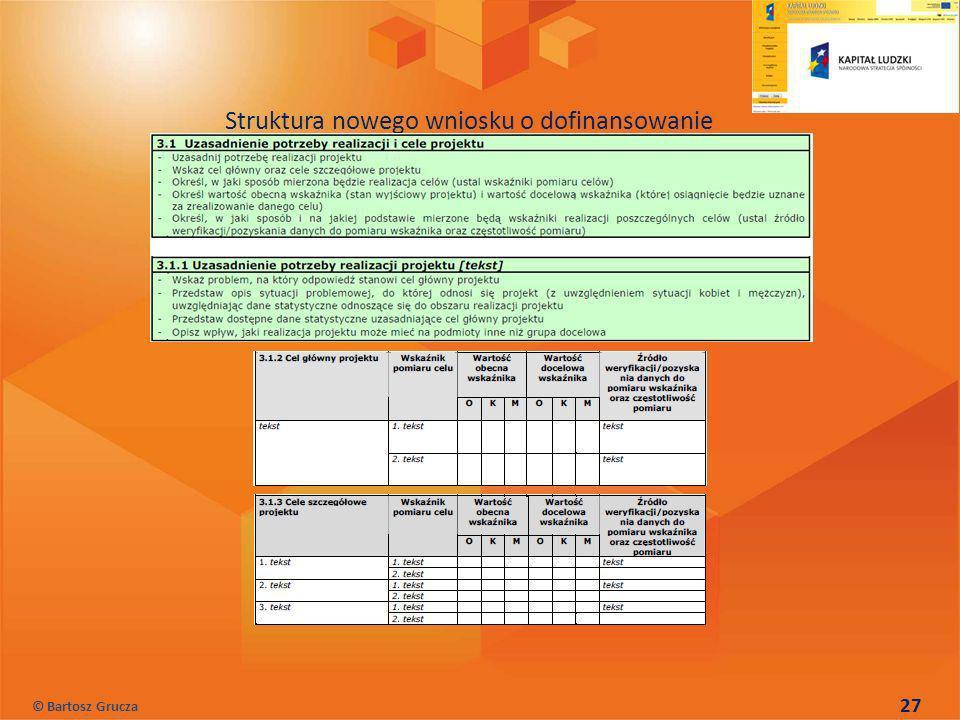 27 Struktura nowego wniosku o dofinansowanie © Bartosz Grucza