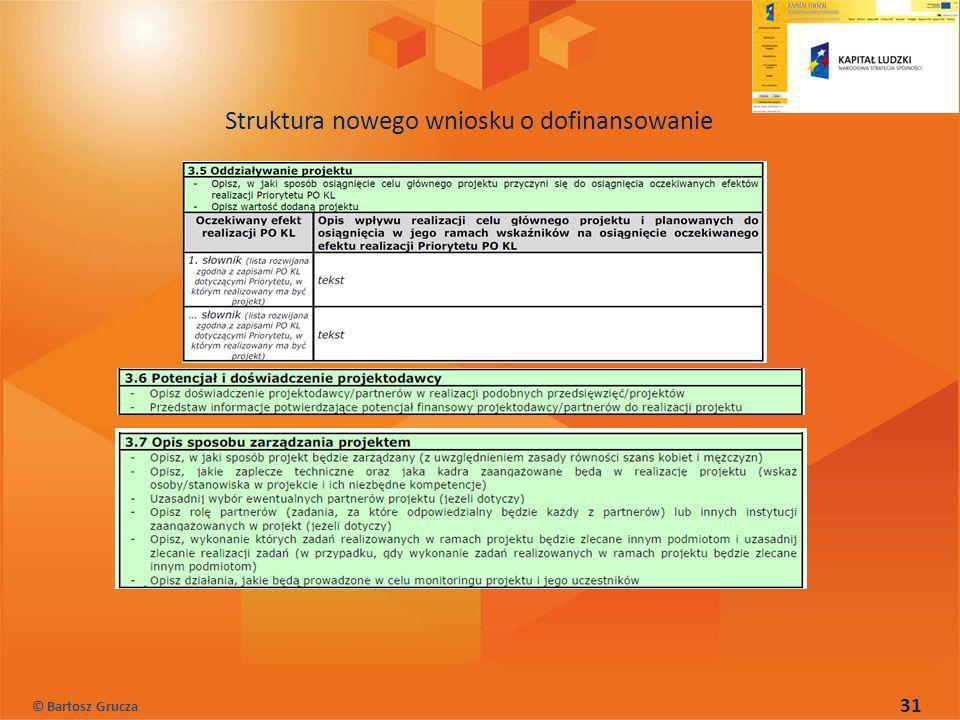 31 Struktura nowego wniosku o dofinansowanie © Bartosz Grucza