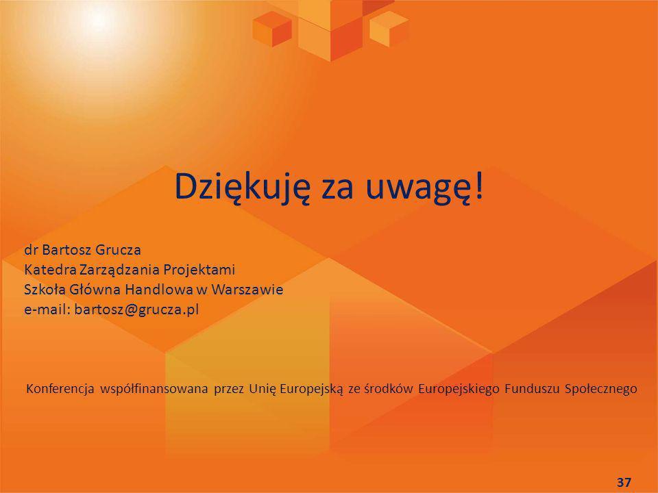 Dziękuję za uwagę! dr Bartosz Grucza Katedra Zarządzania Projektami Szkoła Główna Handlowa w Warszawie e-mail: bartosz@grucza.pl 37 Konferencja współf