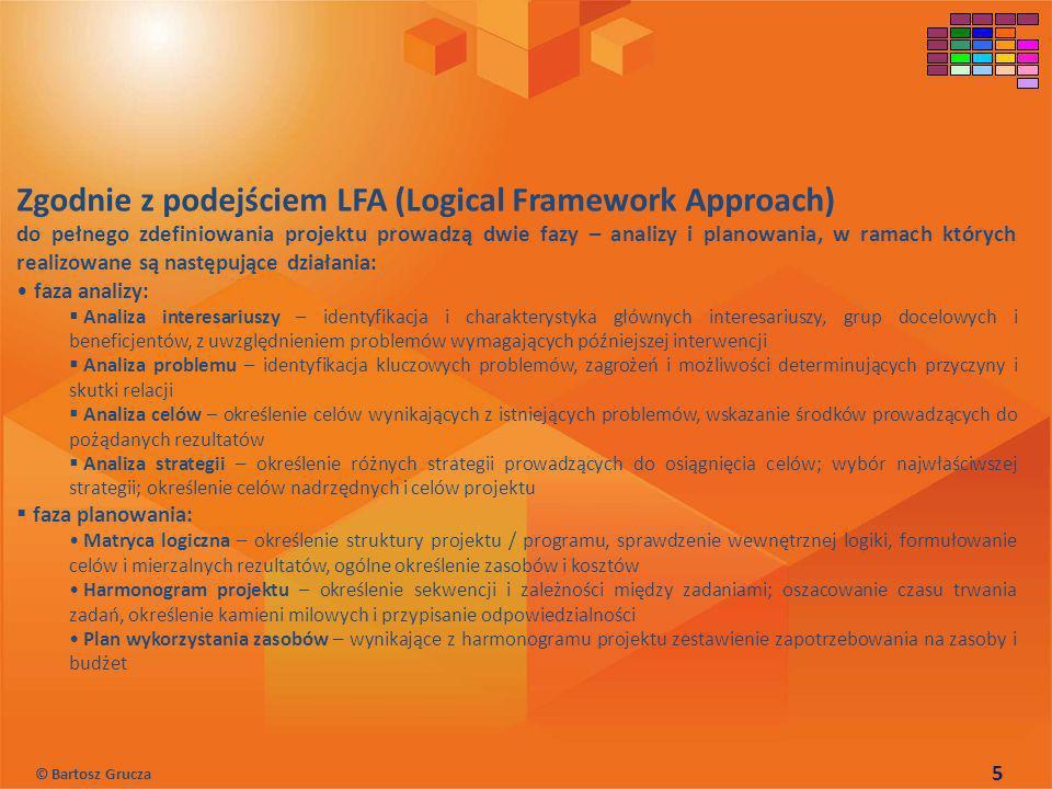 Zgodnie z podejściem LFA (Logical Framework Approach) do pełnego zdefiniowania projektu prowadzą dwie fazy – analizy i planowania, w ramach których re