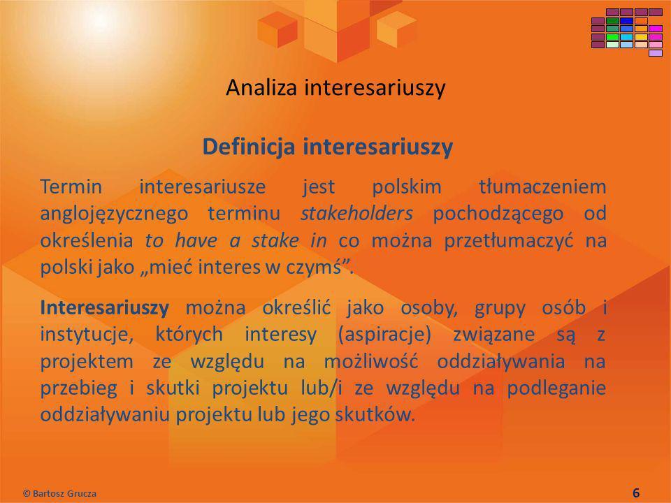 Definicja interesariuszy Termin interesariusze jest polskim tłumaczeniem anglojęzycznego terminu stakeholders pochodzącego od określenia to have a sta