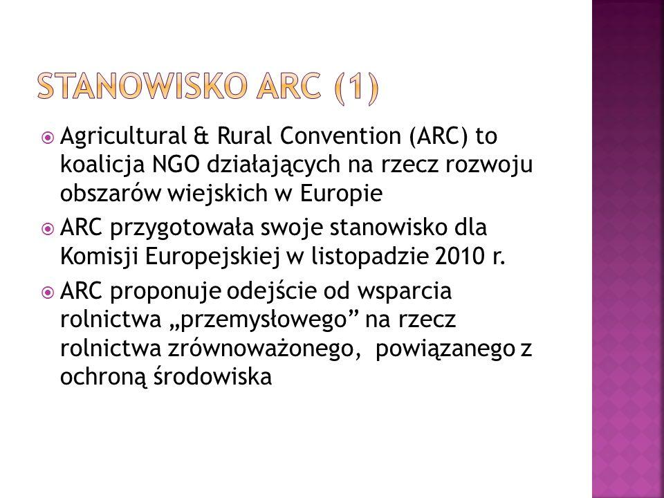 ARC proponuje renesans obszarów wiejskich oraz utworzenie osobnych funduszy dla rolnictwa i dla obszarów wiejskich Rozwój obszarów wiejskich miałby polegać na zintegrowaniu działań obecnie rozproszonych po różnych funduszach (gospodarka, infrastruktura, kultura, edukacja, sprawy społeczne)