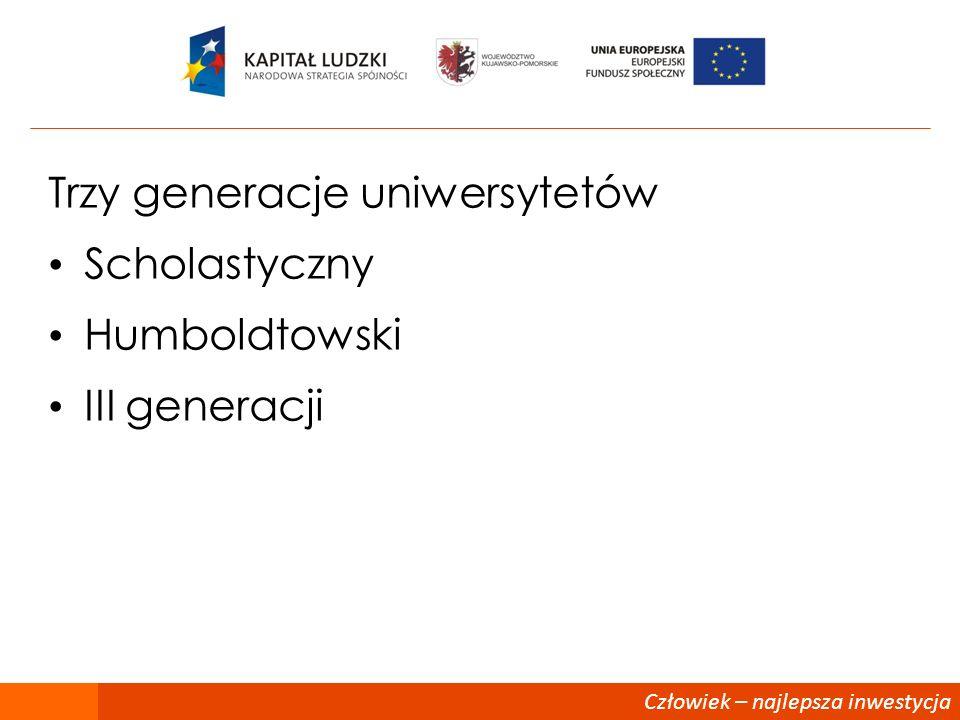 Człowiek – najlepsza inwestycja Trzy generacje uniwersytetów Scholastyczny Humboldtowski III generacji
