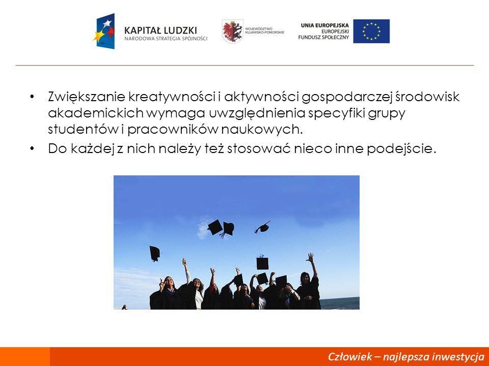 Człowiek – najlepsza inwestycja Zwiększanie kreatywności i aktywności gospodarczej środowisk akademickich wymaga uwzględnienia specyfiki grupy student