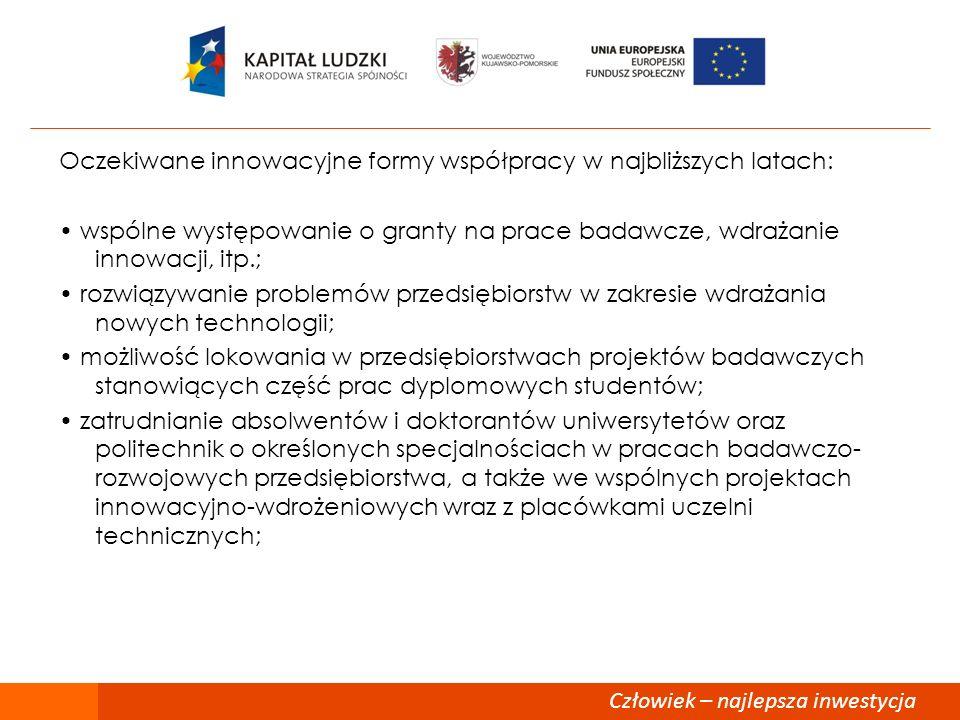Oczekiwane innowacyjne formy współpracy w najbliższych latach: wspólne występowanie o granty na prace badawcze, wdrażanie innowacji, itp.; rozwiązywan