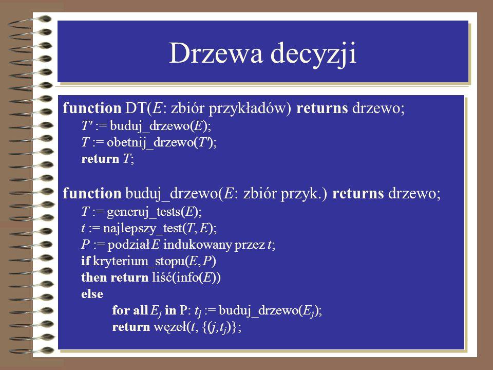 11 Drzewa decyzji function DT(E: zbiór przykładów) returns drzewo; T' := buduj_drzewo(E); T := obetnij_drzewo(T'); return T; function buduj_drzewo(E: