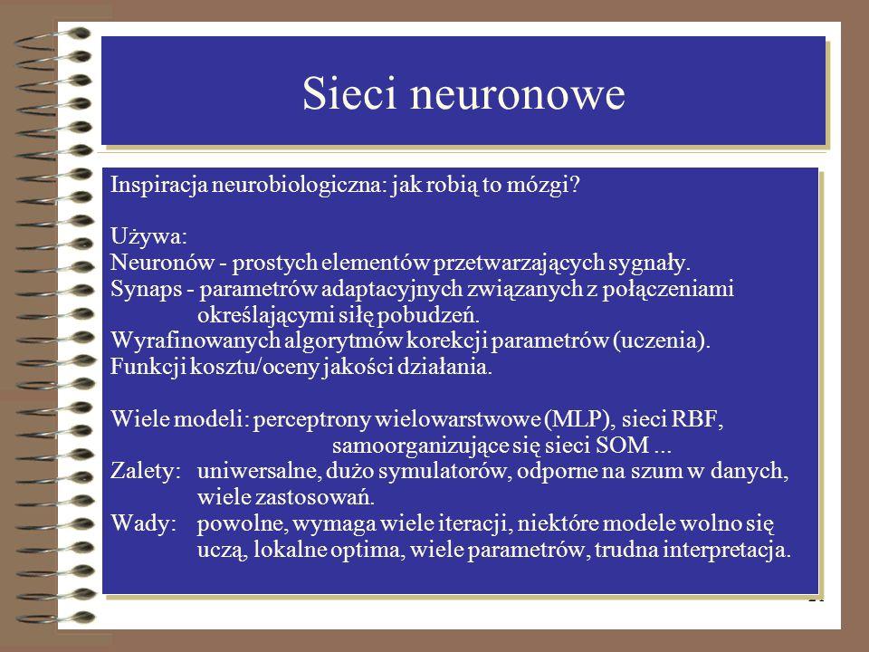 21 Sieci neuronowe Inspiracja neurobiologiczna: jak robią to mózgi? Używa: Neuronów - prostych elementów przetwarzających sygnały. Synaps - parametrów