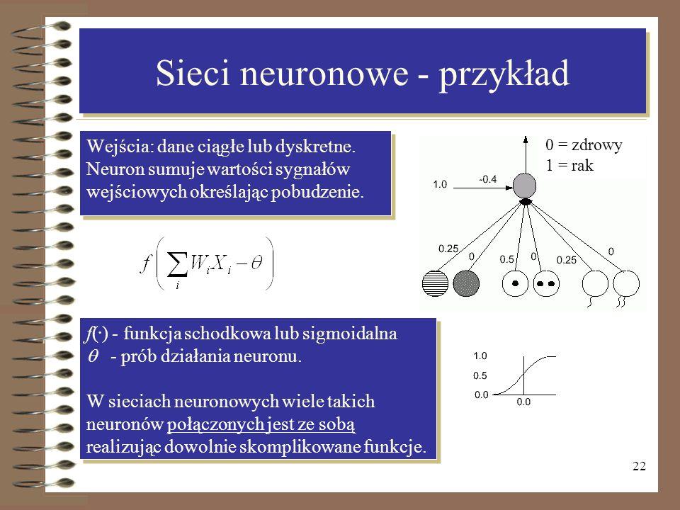 22 Sieci neuronowe - przykład Wejścia: dane ciągłe lub dyskretne. Neuron sumuje wartości sygnałów wejściowych określając pobudzenie. Wejścia: dane cią