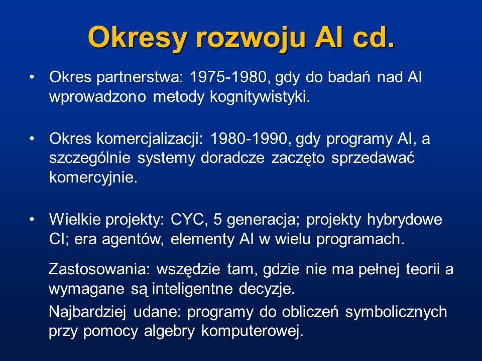 Okresy rozwoju AI cd. Okres partnerstwa: 1975-1980, gdy do badań nad AI wprowadzono metody kognitywistyki. Okres komercjalizacji: 1980-1990, gdy progr