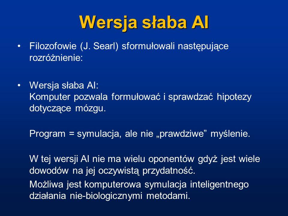 Wersja słaba AI Filozofowie (J. Searl) sformułowali następujące rozróżnienie: Wersja słaba AI: Komputer pozwala formułować i sprawdzać hipotezy dotycz
