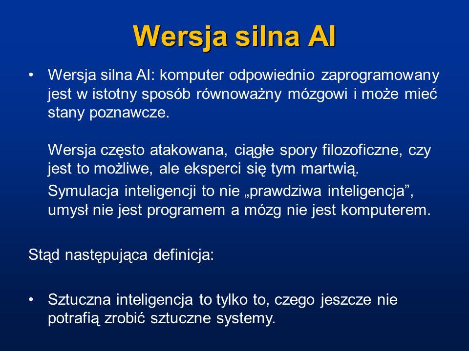 Wersja silna AI Wersja silna AI: komputer odpowiednio zaprogramowany jest w istotny sposób równoważny mózgowi i może mieć stany poznawcze. Wersja częs