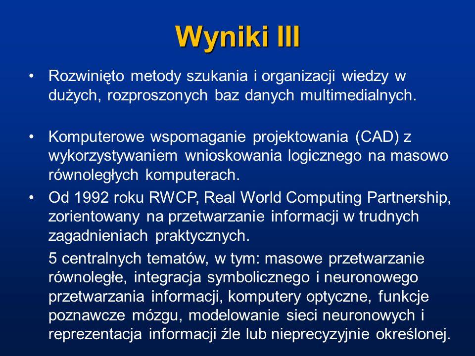 Wyniki III Rozwinięto metody szukania i organizacji wiedzy w dużych, rozproszonych baz danych multimedialnych. Komputerowe wspomaganie projektowania (
