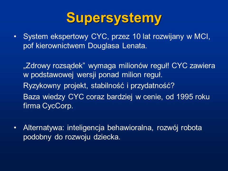 Supersystemy System ekspertowy CYC, przez 10 lat rozwijany w MCI, pof kierownictwem Douglasa Lenata. Zdrowy rozsądek wymaga milionów reguł! CYC zawier