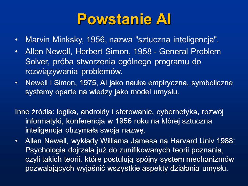 Okresy rozwoju AI Według Patricka Winston a wyróżnić można kilka okresów: Era prehistoryczna: od maszyny analitycznej Charles a Babbage (1842) do około 1960 roku.