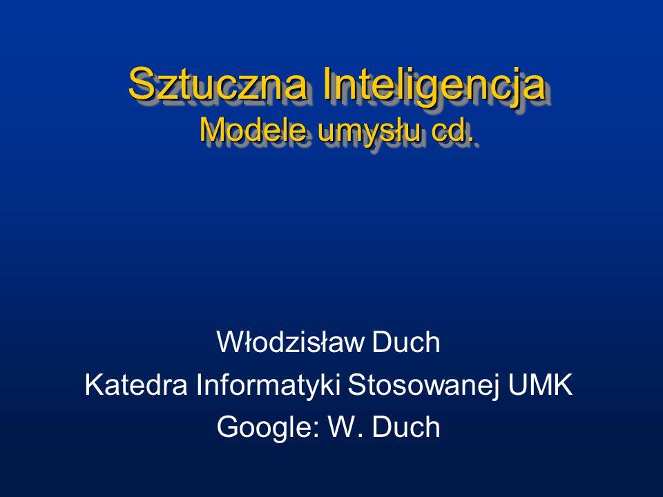 Sztuczna Inteligencja Modele umysłu cd. Włodzisław Duch Katedra Informatyki Stosowanej UMK Google: W. Duch