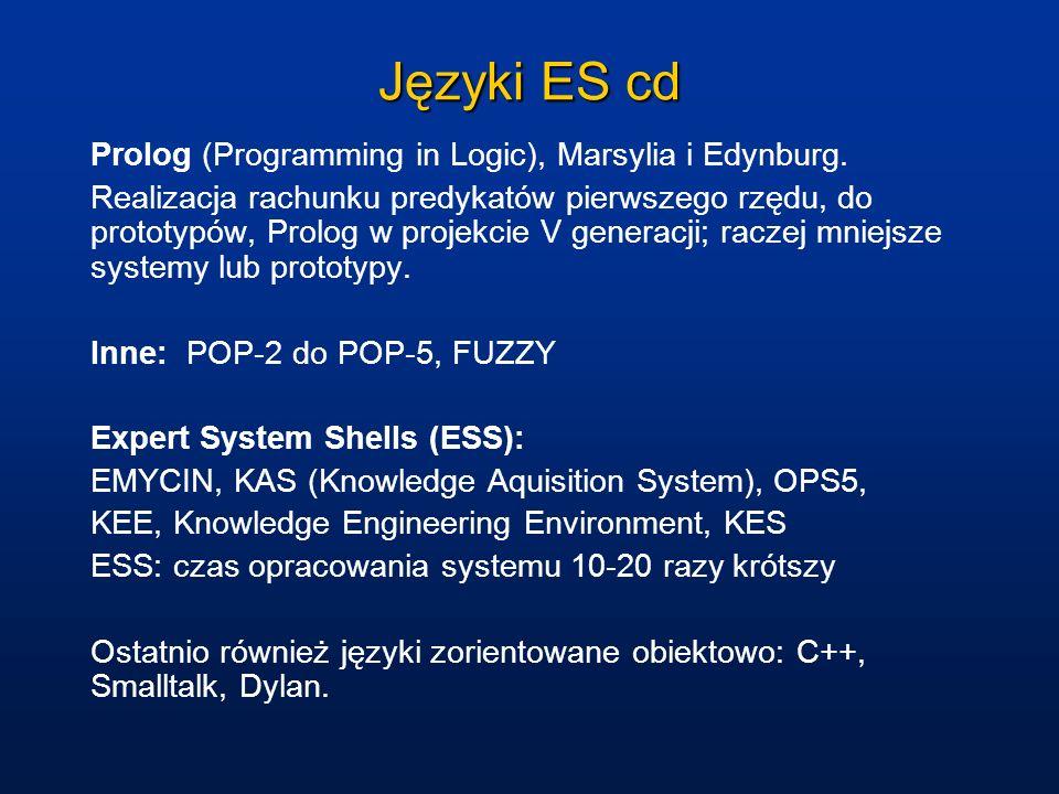 Języki ES cd Prolog (Programming in Logic), Marsylia i Edynburg. Realizacja rachunku predykatów pierwszego rzędu, do prototypów, Prolog w projekcie V