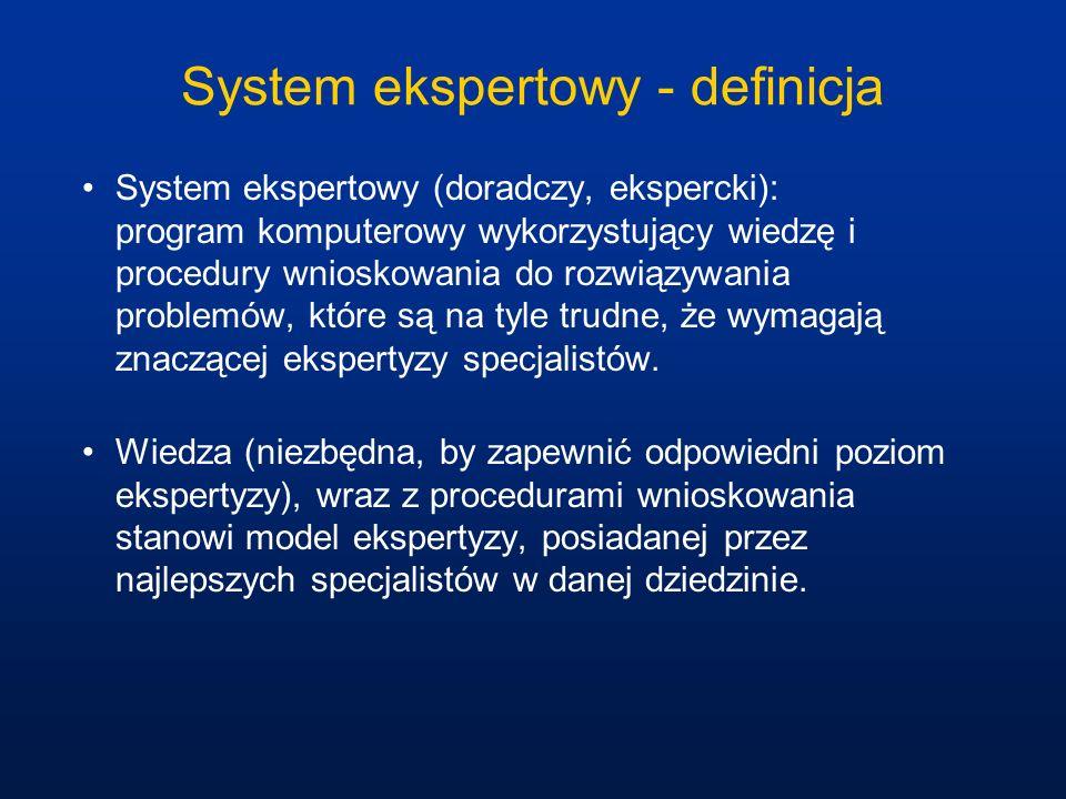 System ekspertowy - definicja System ekspertowy (doradczy, ekspercki): program komputerowy wykorzystujący wiedzę i procedury wnioskowania do rozwiązyw