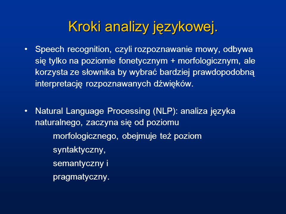 Kroki analizy językowej. Speech recognition, czyli rozpoznawanie mowy, odbywa się tylko na poziomie fonetycznym + morfologicznym, ale korzysta ze słow