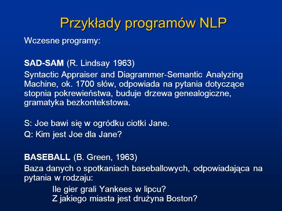 Przykłady programów NLP Wczesne programy: SAD-SAM (R. Lindsay 1963) Syntactic Appraiser and Diagrammer-Semantic Analyzing Machine, ok. 1700 słów, odpo