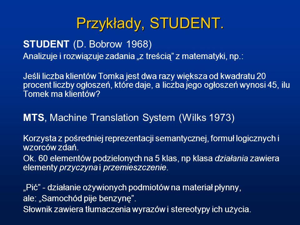 Przykłady, STUDENT. STUDENT (D. Bobrow 1968) Analizuje i rozwiązuje zadania z treścią z matematyki, np.: Jeśli liczba klientów Tomka jest dwa razy wię