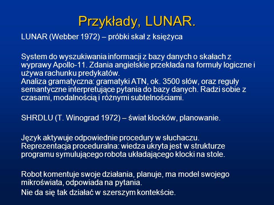 Przykłady, LUNAR. LUNAR (Webber 1972) – próbki skał z księżyca System do wyszukiwania informacji z bazy danych o skałach z wyprawy Apollo-11. Zdania a