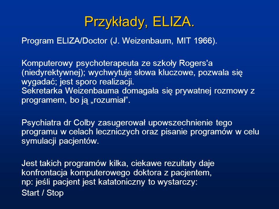 Przykłady, ELIZA. Program ELIZA/Doctor (J. Weizenbaum, MIT 1966). Komputerowy psychoterapeuta ze szkoły Rogers'a (niedyrektywnej); wychwytuje słowa kl
