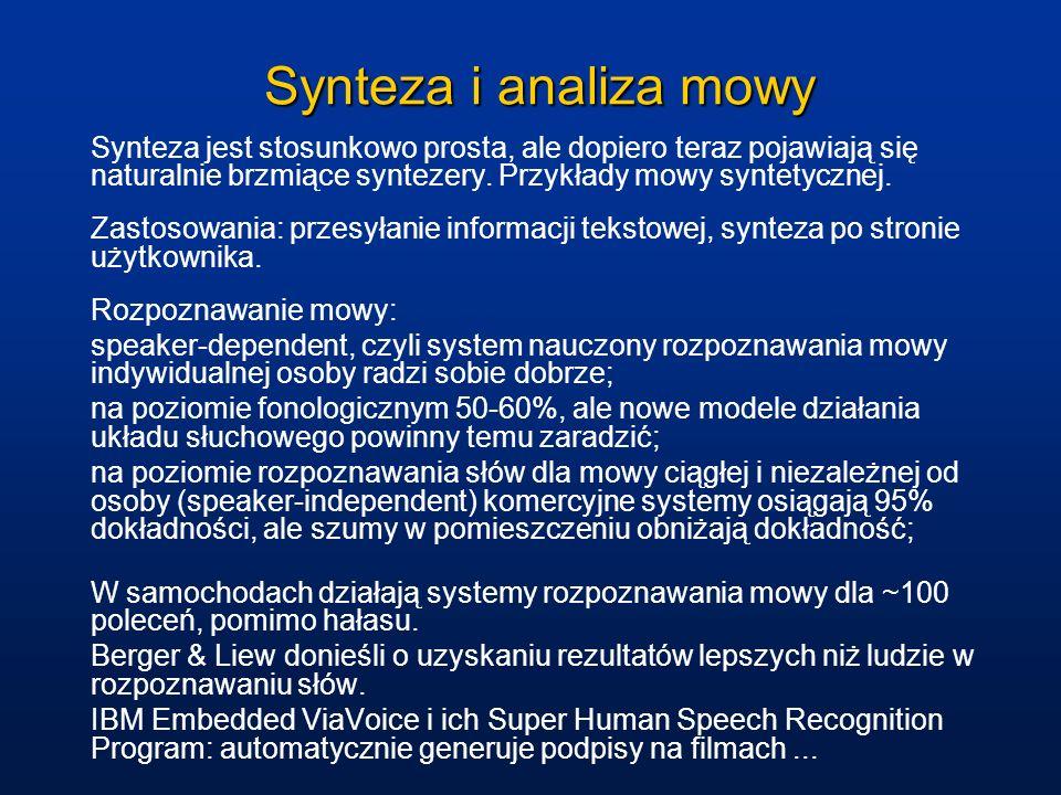 Synteza i analiza mowy Synteza jest stosunkowo prosta, ale dopiero teraz pojawiają się naturalnie brzmiące syntezery. Przykłady mowy syntetycznej. Zas