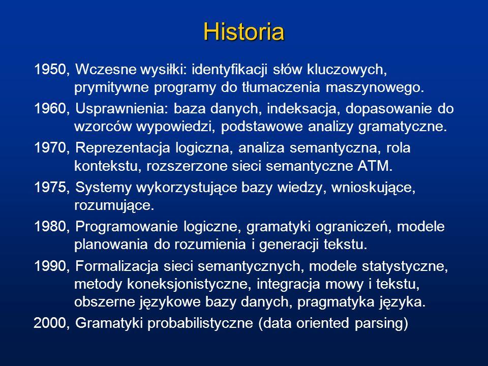Historia 1950, Wczesne wysiłki: identyfikacji słów kluczowych, prymitywne programy do tłumaczenia maszynowego. 1960, Usprawnienia: baza danych, indeks