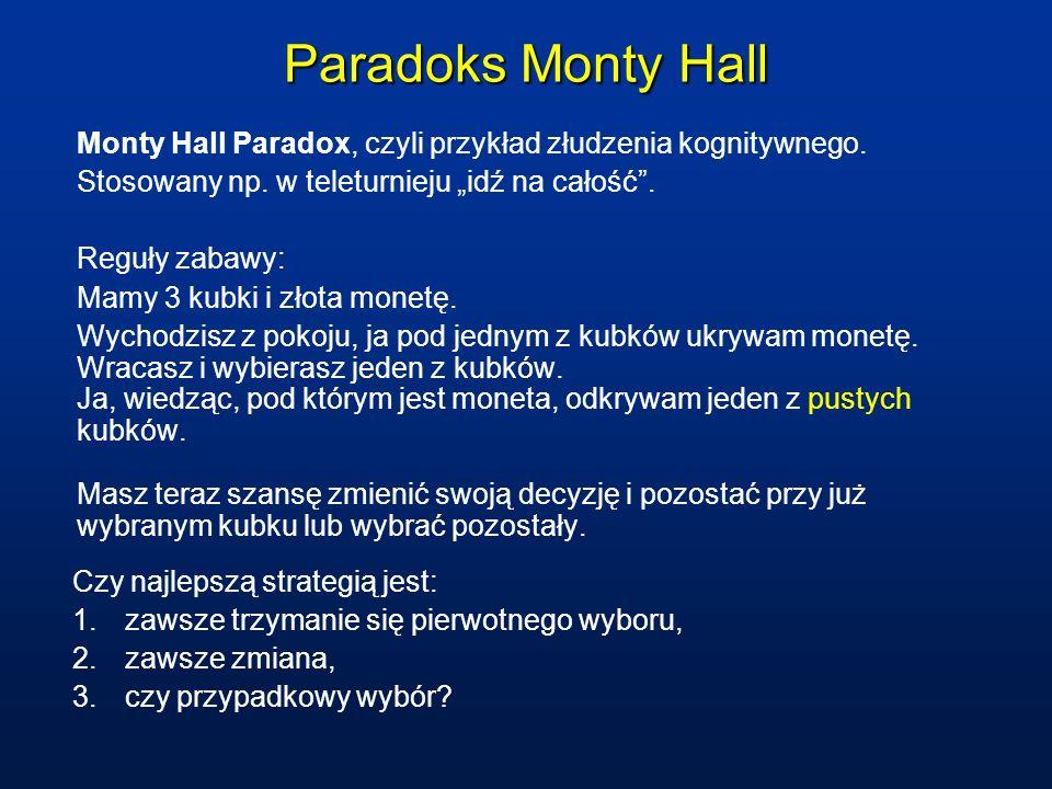 Paradoks Monty Hall Monty Hall Paradox, czyli przykład złudzenia kognitywnego.