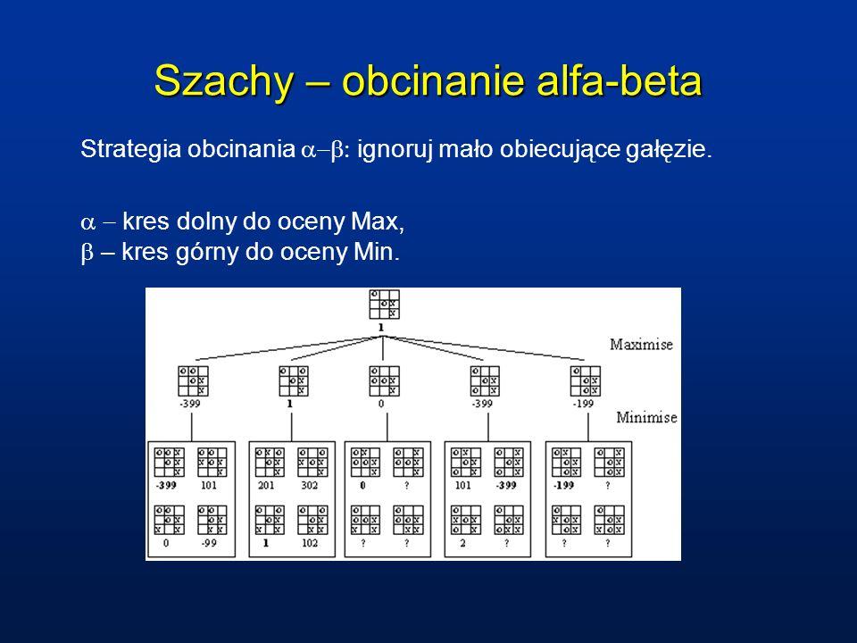Szachy – obcinanie alfa-beta Strategia obcinania ignoruj mało obiecujące gałęzie.
