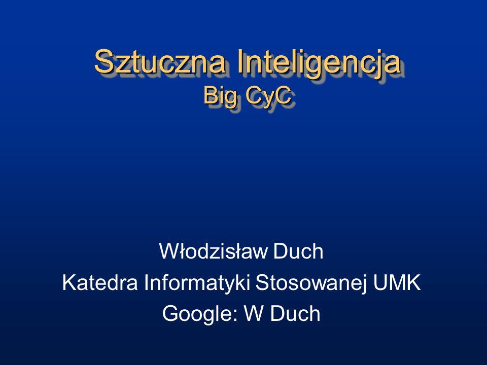 Sztuczna Inteligencja Big CyC Włodzisław Duch Katedra Informatyki Stosowanej UMK Google: W Duch