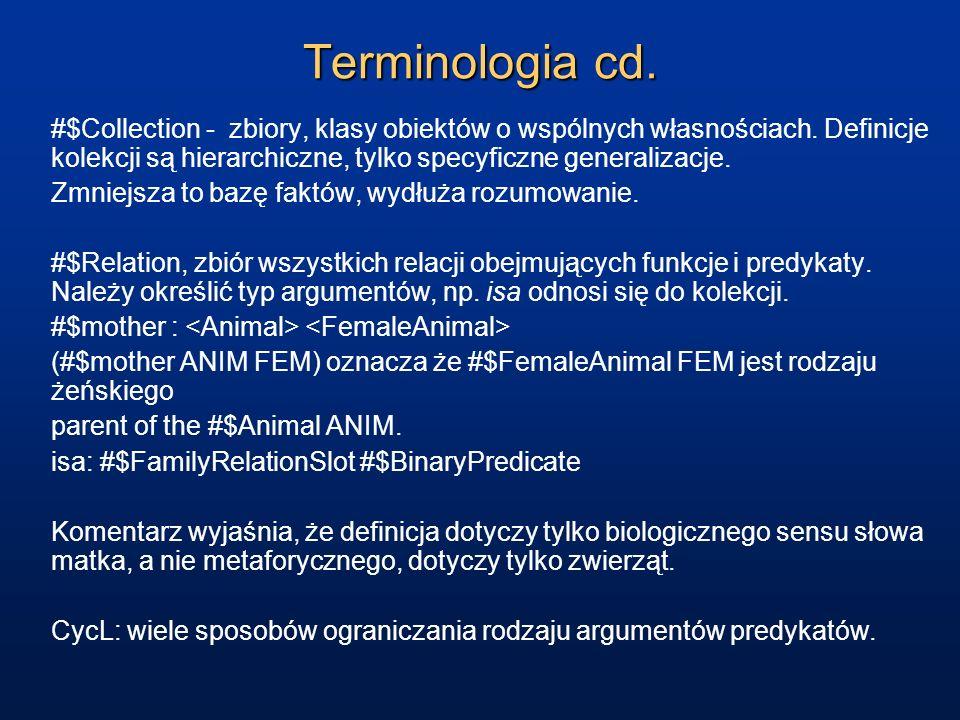 Terminologia cd. #$Collection - zbiory, klasy obiektów o wspólnych własnościach. Definicje kolekcji są hierarchiczne, tylko specyficzne generalizacje.